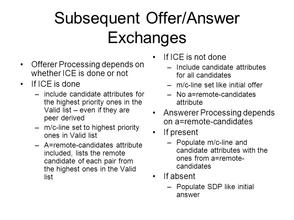 Subsequent Offer/Answer Exchanges