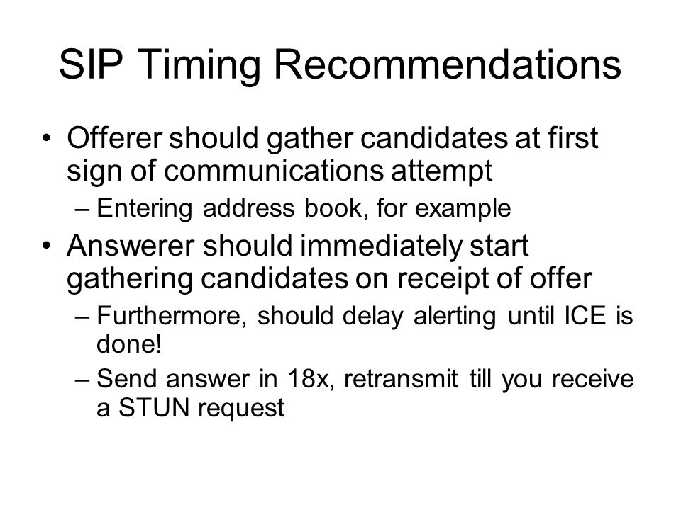 SIP Timing Recommendations