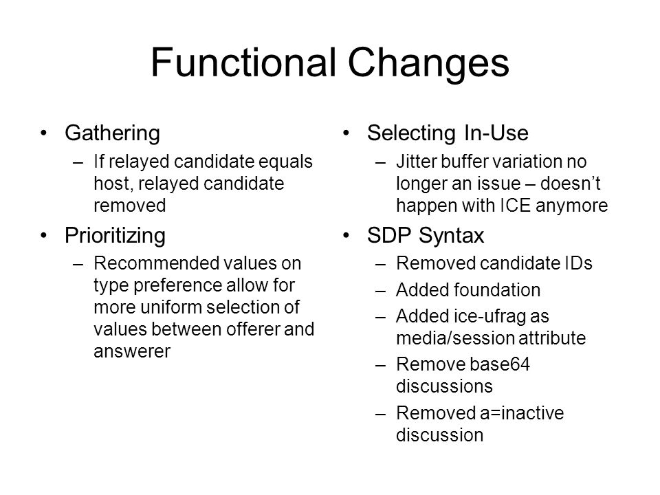 Functional Changes Gathering Prioritizing Selecting In-Use SDP Syntax