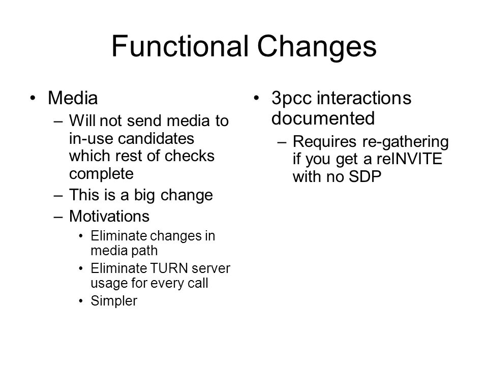 Functional Changes Media 3pcc interactions documented