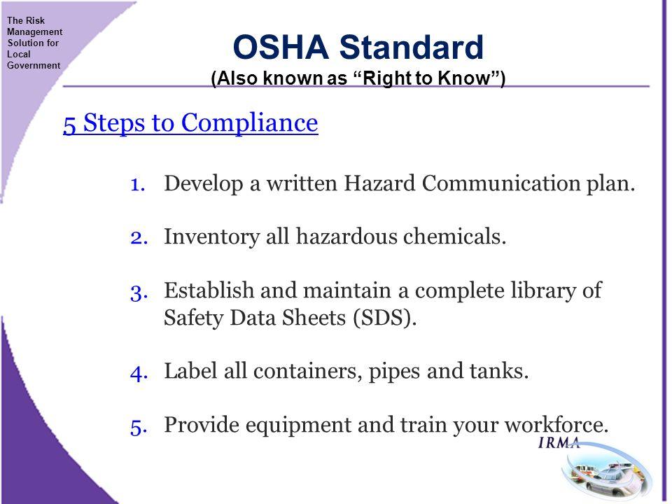 Globally Harmonized System Hazard Communication Right To