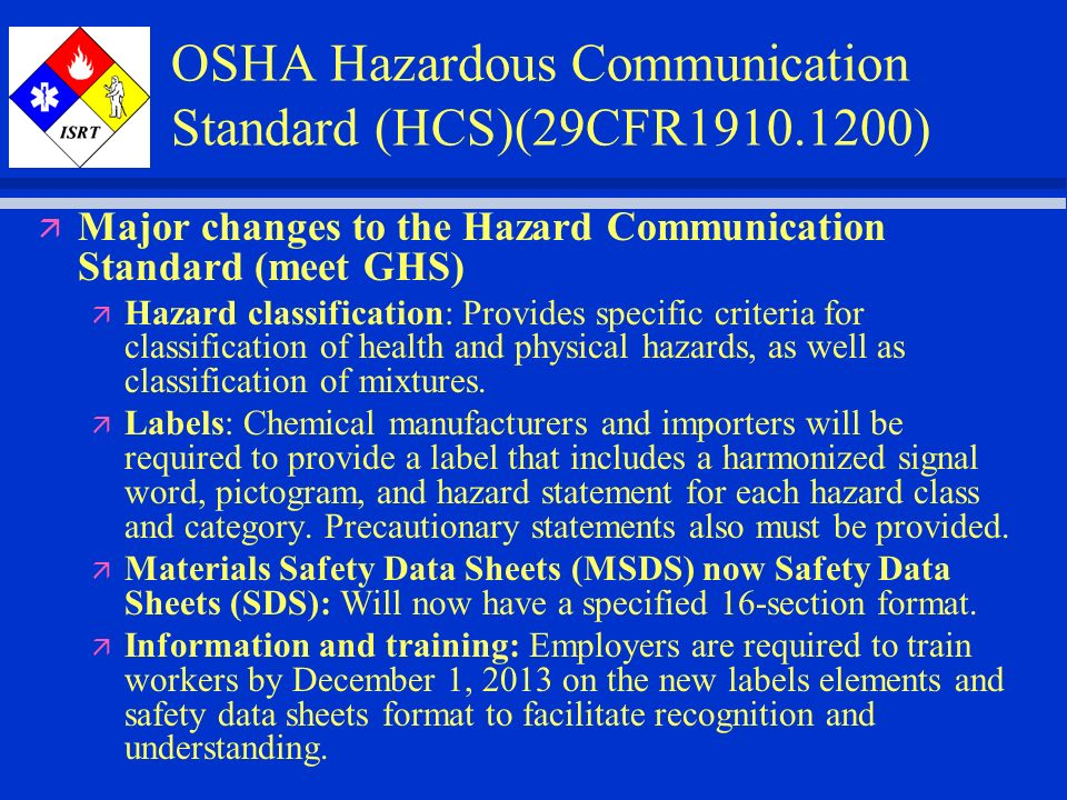 Globally Harmonized System Hazard Communication Ppt