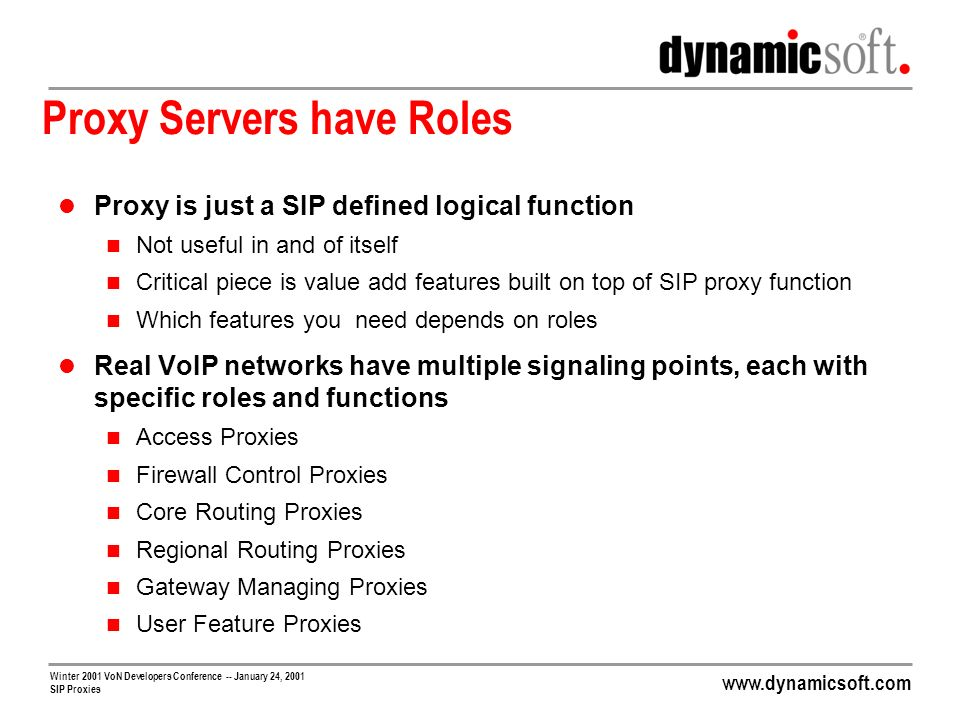 Proxy Servers have Roles