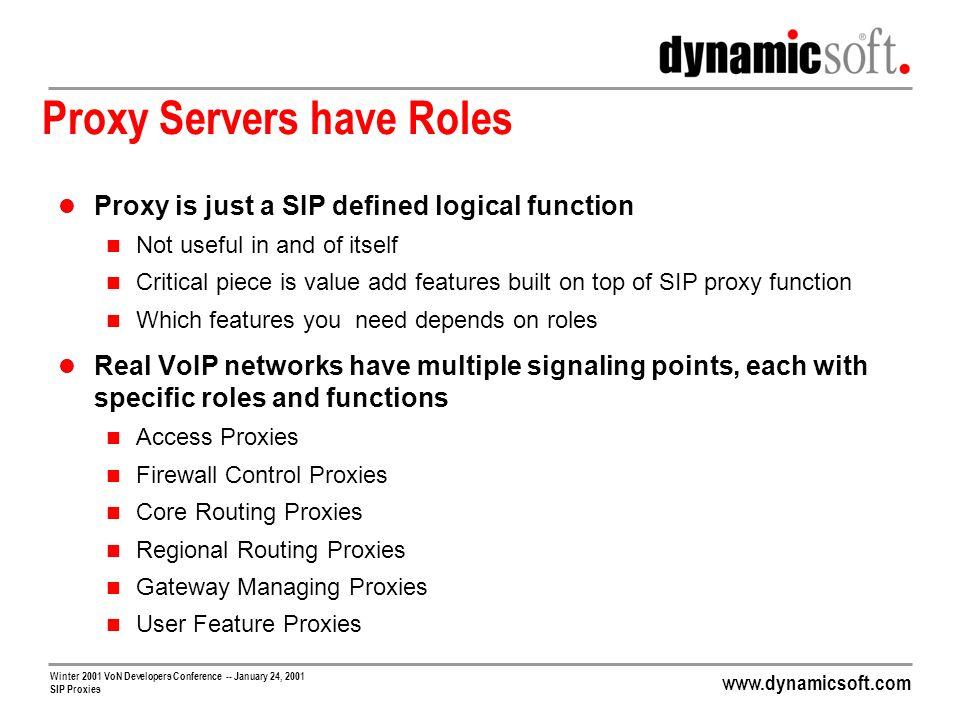 Proxy Servers have Roles