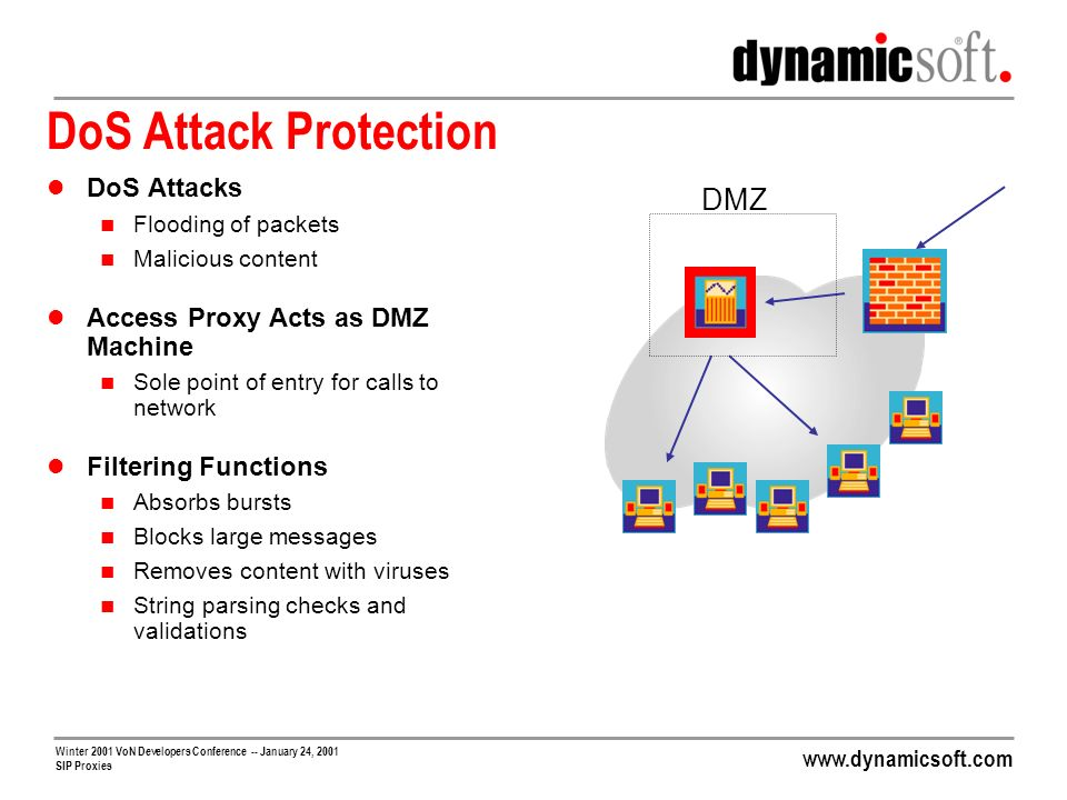 DoS Attack Protection DMZ DoS Attacks Access Proxy Acts as DMZ Machine
