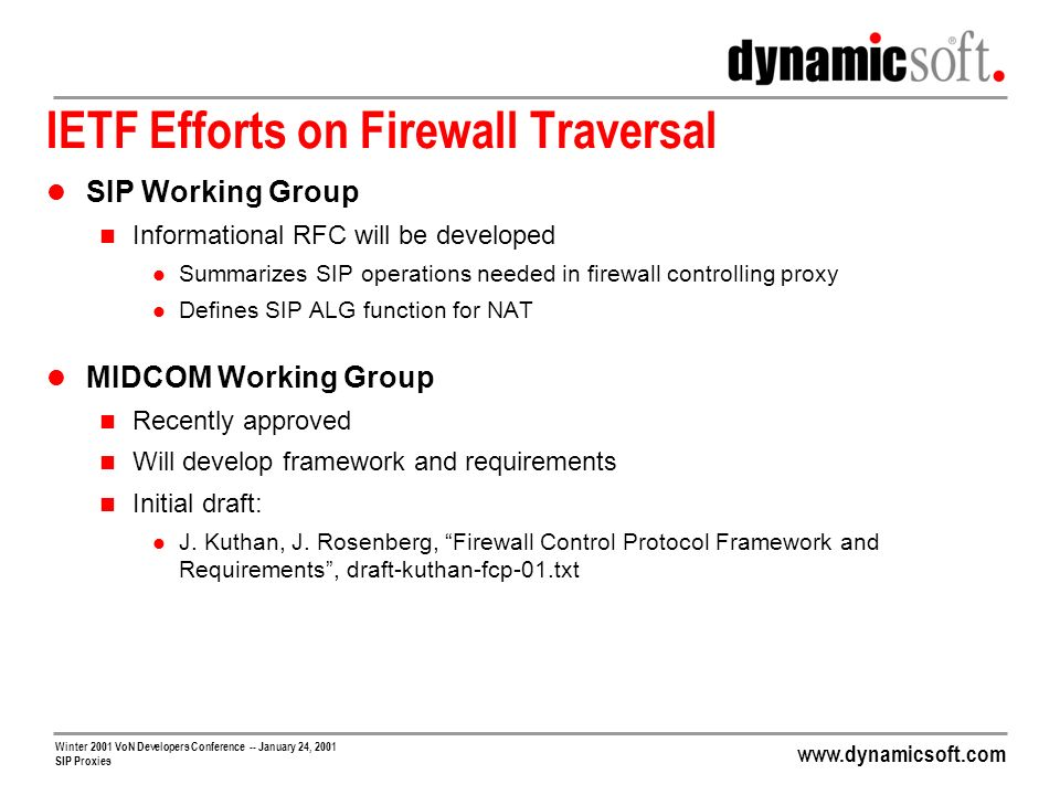 IETF Efforts on Firewall Traversal