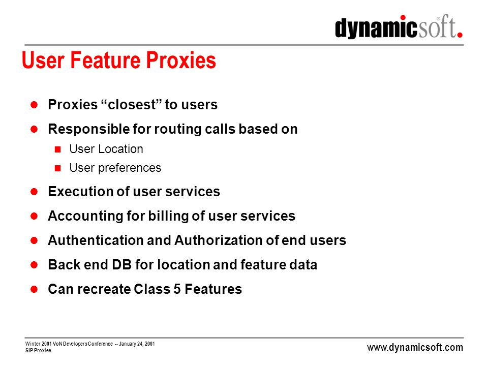 User Feature Proxies Proxies closest to users