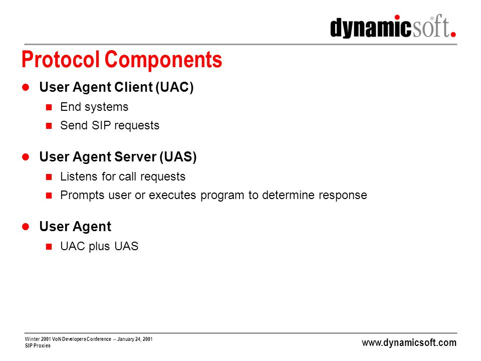 Protocol Components User Agent Client (UAC) User Agent Server (UAS)