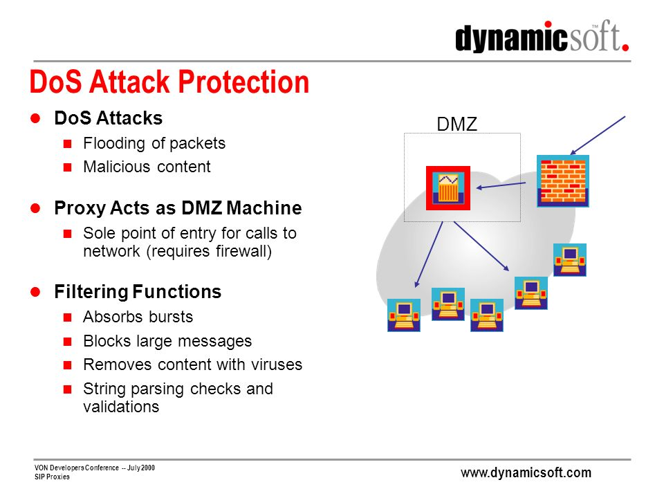 DoS Attack Protection DoS Attacks DMZ Proxy Acts as DMZ Machine