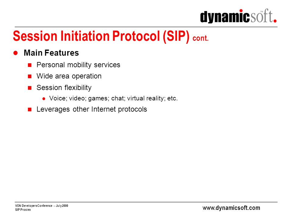Session Initiation Protocol (SIP) cont.
