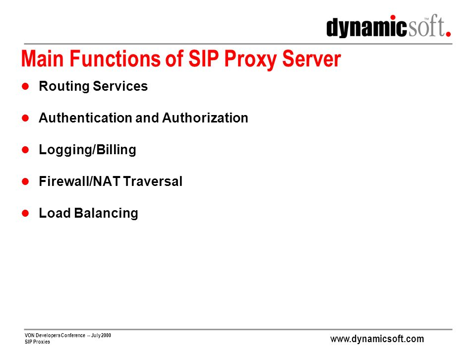 Main Functions of SIP Proxy Server