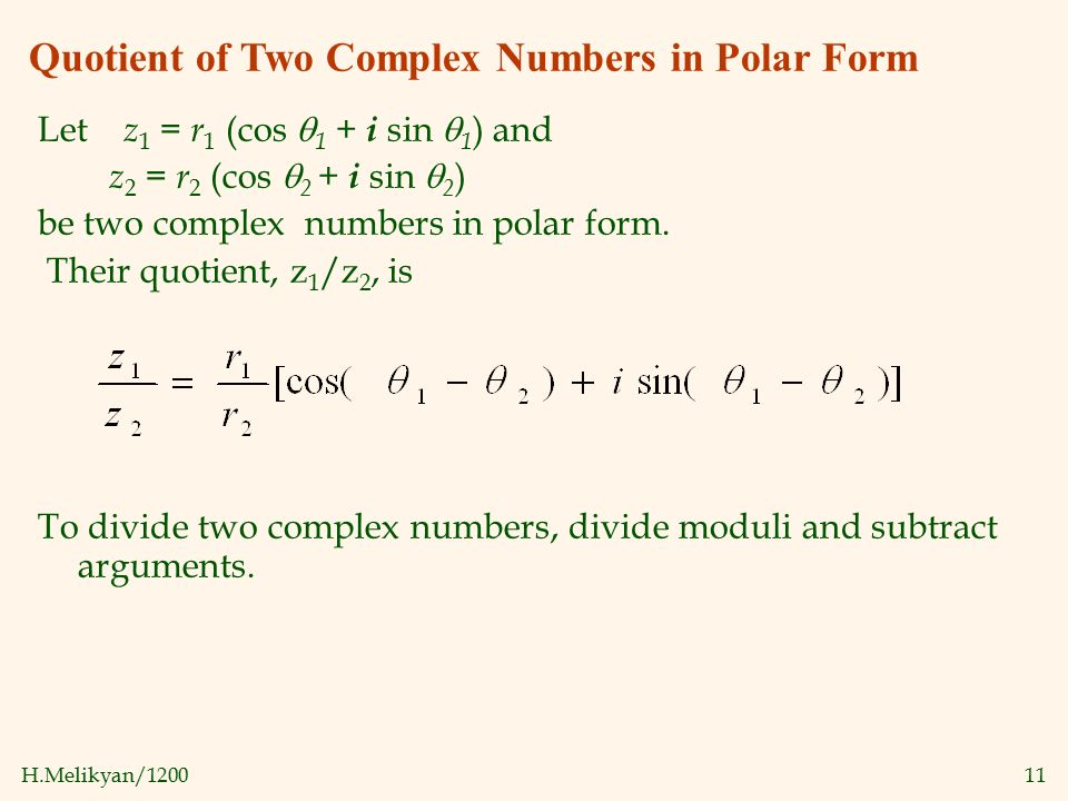 Complex Numbers in Polar Form; DeMoivre's Theorem - ppt video ...