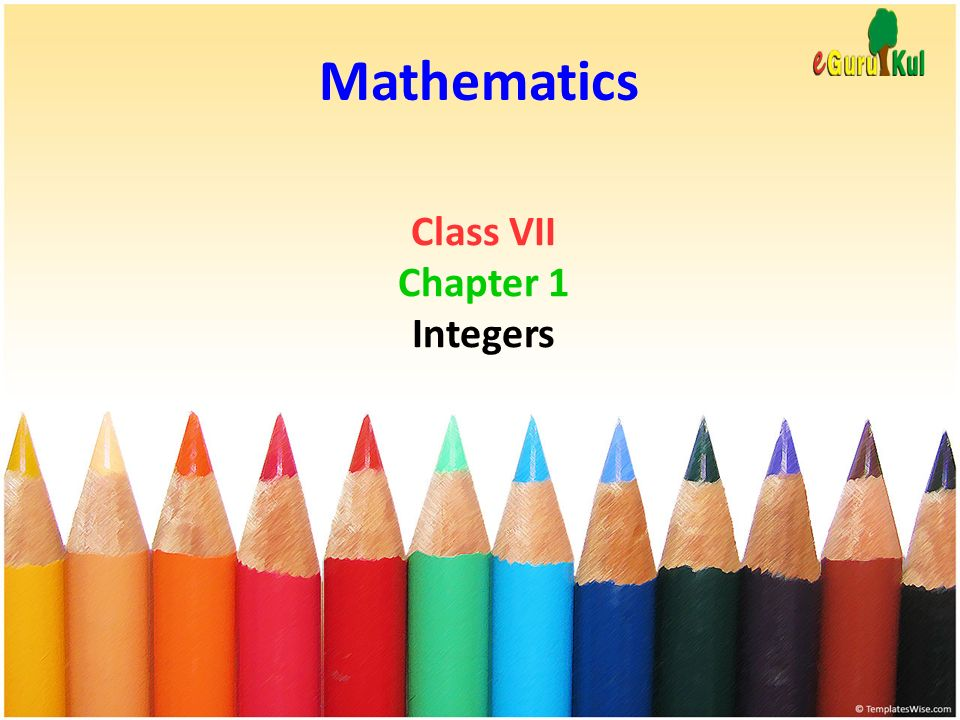 Mathematics Class VII Chapter 1 Integers