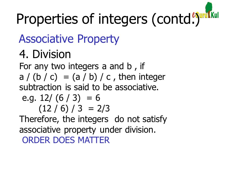 Properties of integers (contd.)