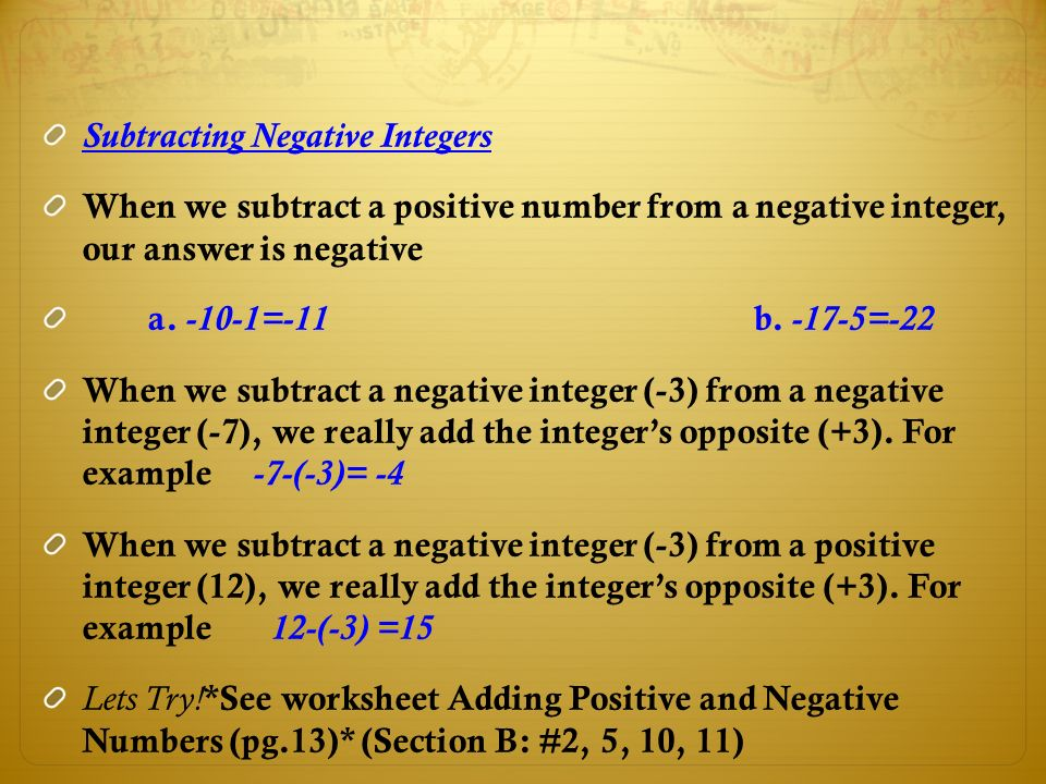 Adding Subtracting Multiplying and Dividing Integers ppt download – Negative Integers Worksheet