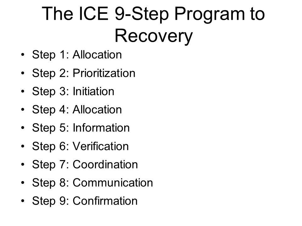 The ICE 9-Step Program to Recovery