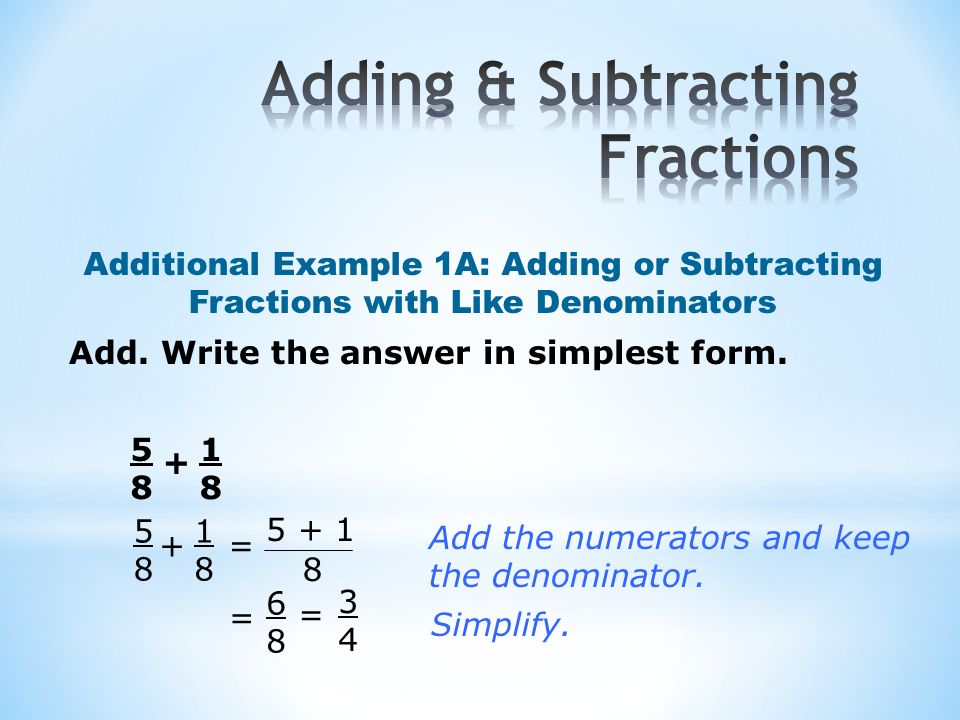 adding and subtracting fractions In this educational animated movie about math learn more about how to add and subtract different fractions.