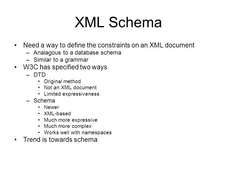XML Schema Need a way to define the constraints on an XML document