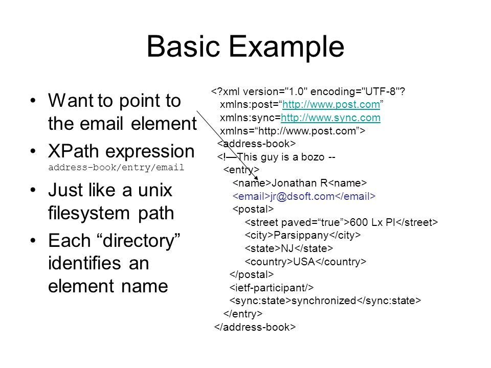 Basic Example Want to point to the  element