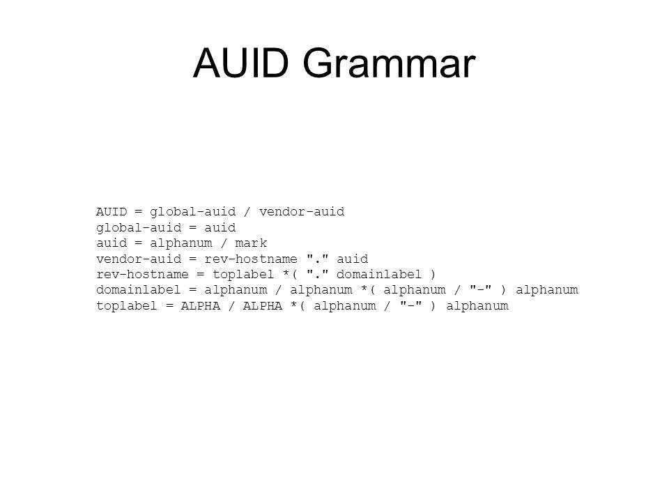 AUID Grammar AUID = global-auid / vendor-auid global-auid = auid