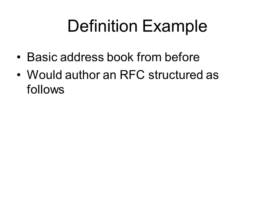 Definition Example Basic address book from before