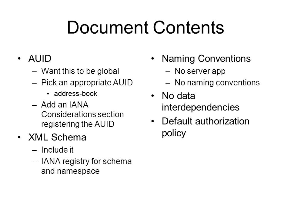 Document Contents AUID XML Schema Naming Conventions