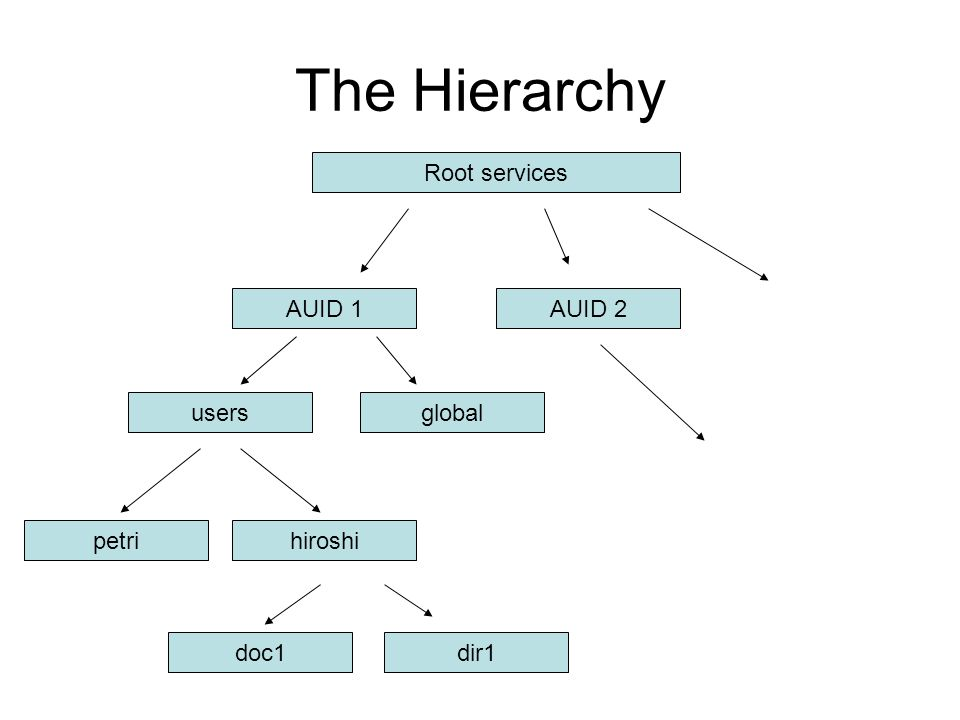 The Hierarchy Root services AUID 1 AUID 2 users global petri hiroshi