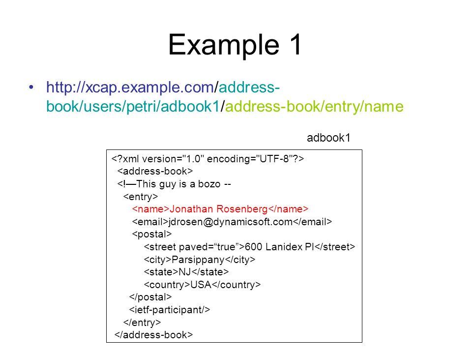 Example 1 http://xcap.example.com/address-book/users/petri/adbook1/address-book/entry/name. adbook1.