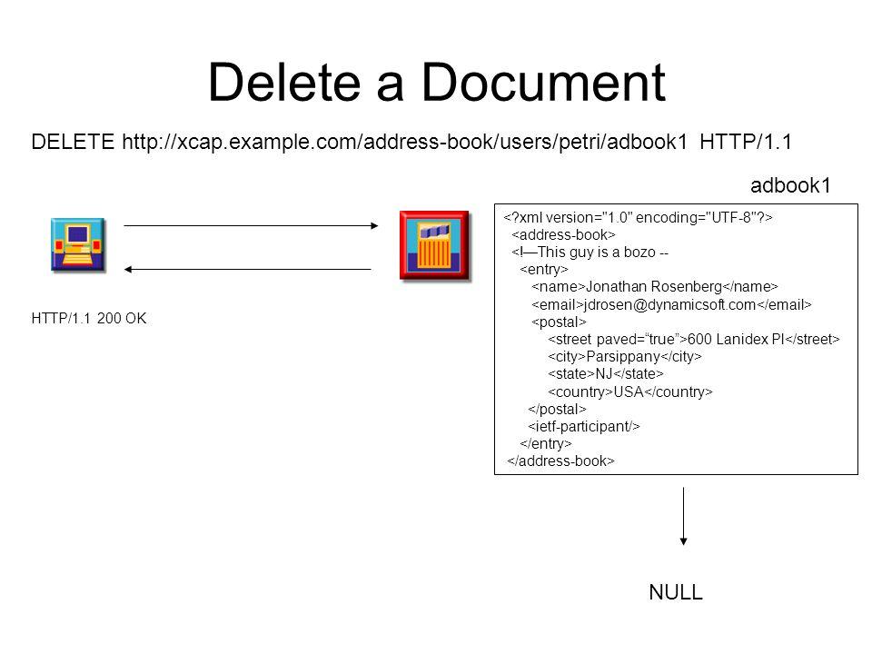 Delete a Document DELETE http://xcap.example.com/address-book/users/petri/adbook1 HTTP/1.1. adbook1.