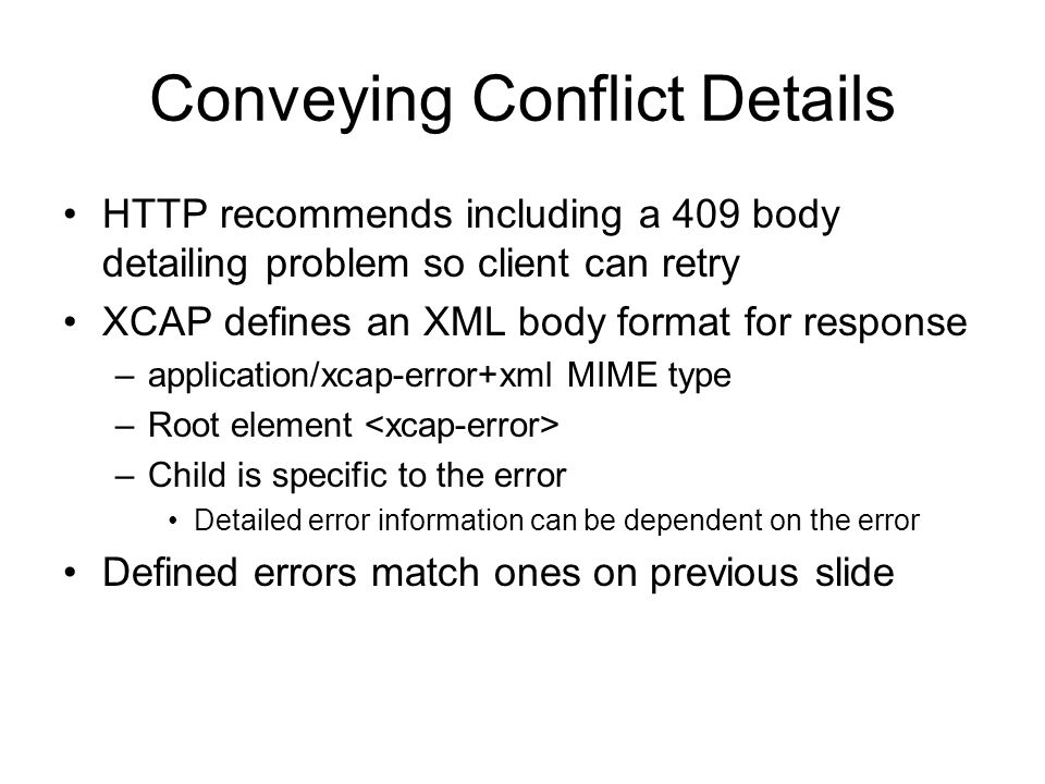 Conveying Conflict Details