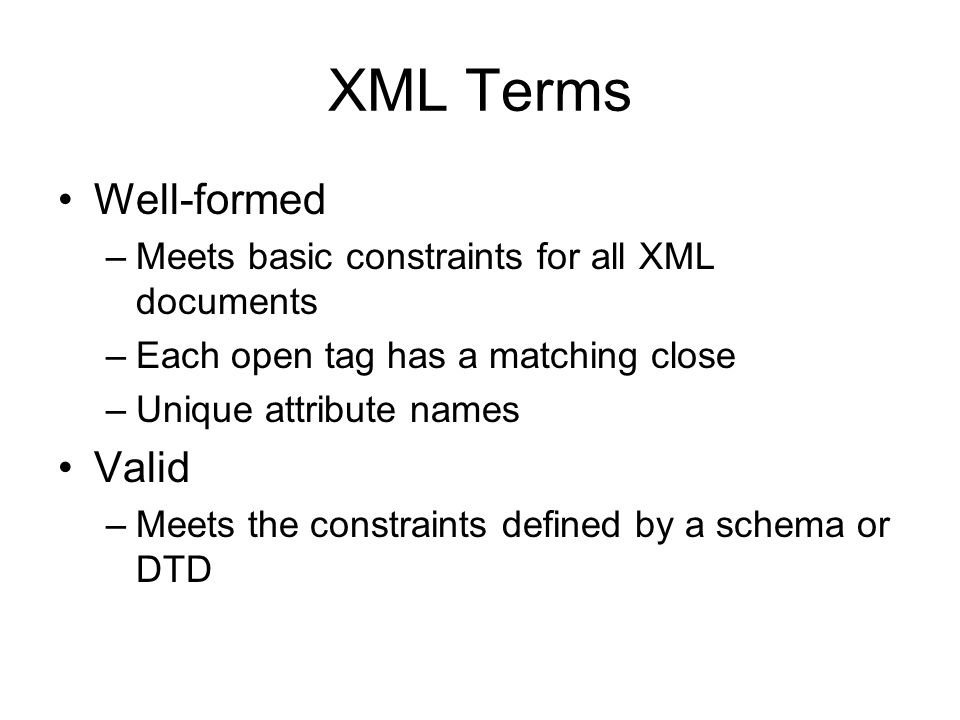XML Terms Well-formed Valid