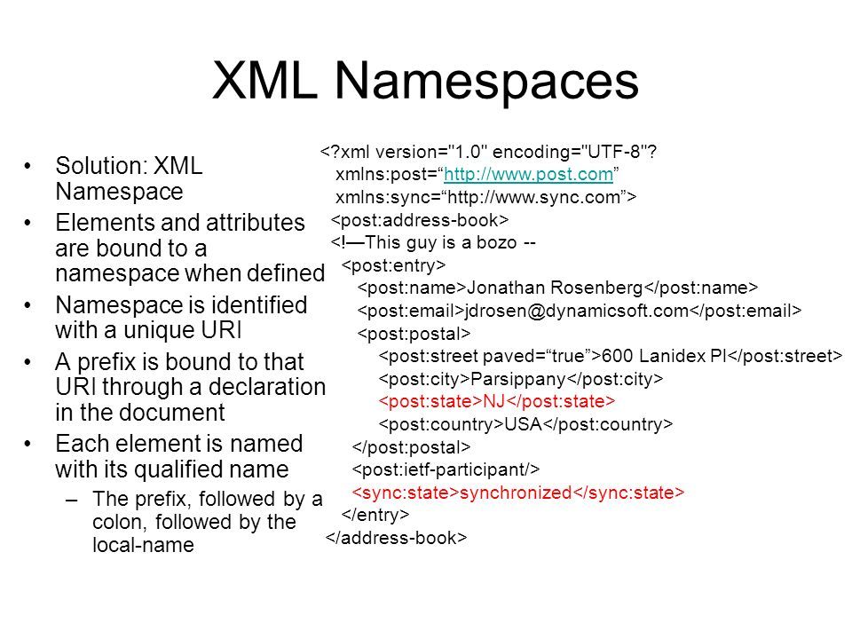 XML Namespaces Solution: XML Namespace