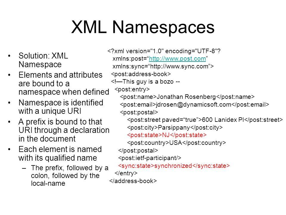 XML Namespaces Solution: XML Namespace