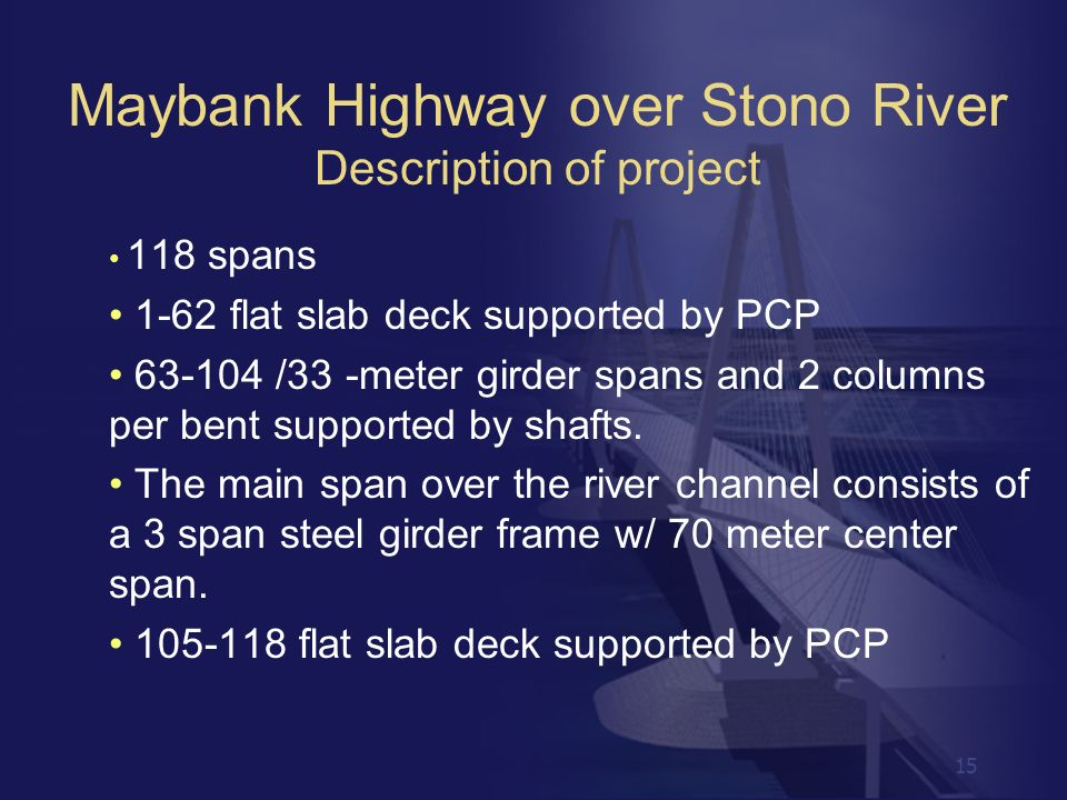 Maybank Highway over Stono River Description of project