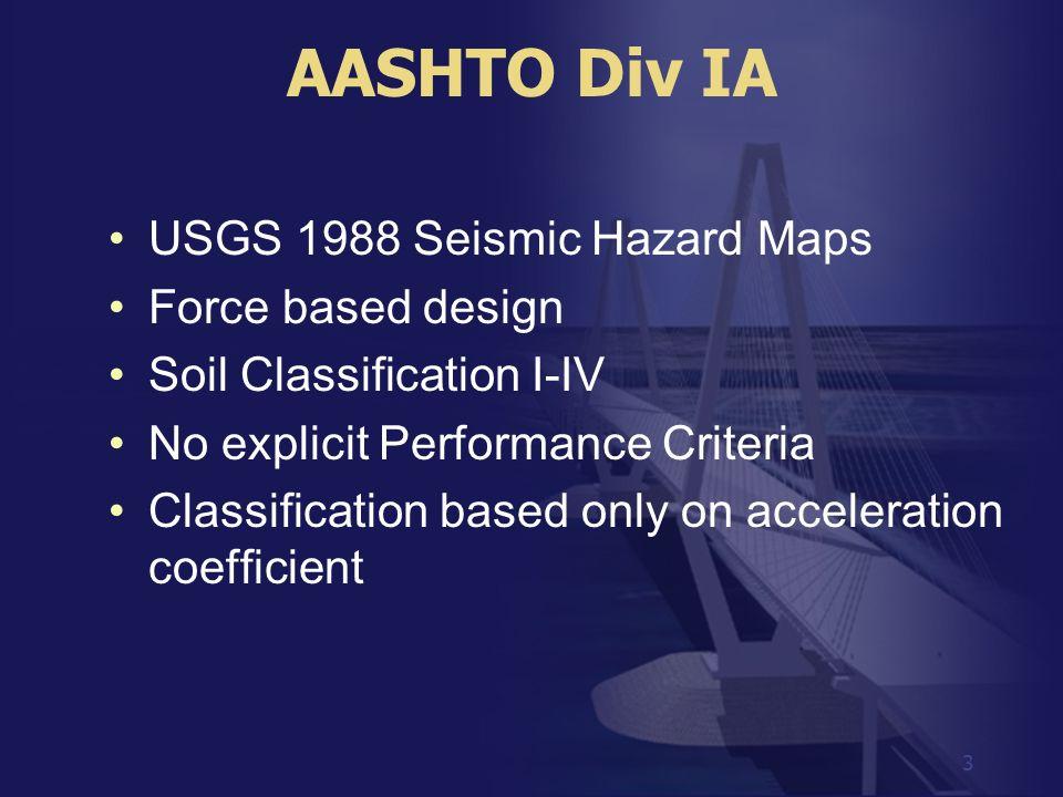 AASHTO Div IA USGS 1988 Seismic Hazard Maps Force based design