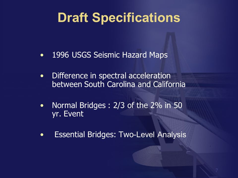 Draft Specifications 1996 USGS Seismic Hazard Maps