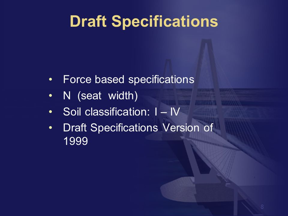 Draft Specifications Force based specifications N (seat width)