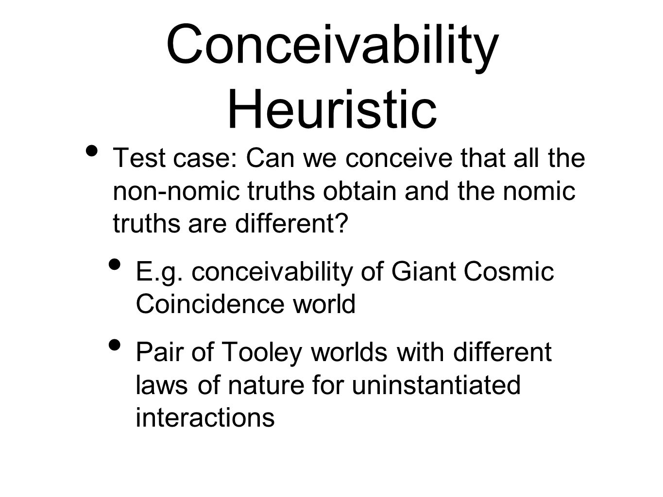 Conceivability Heuristic