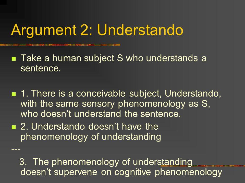 Argument 2: Understando