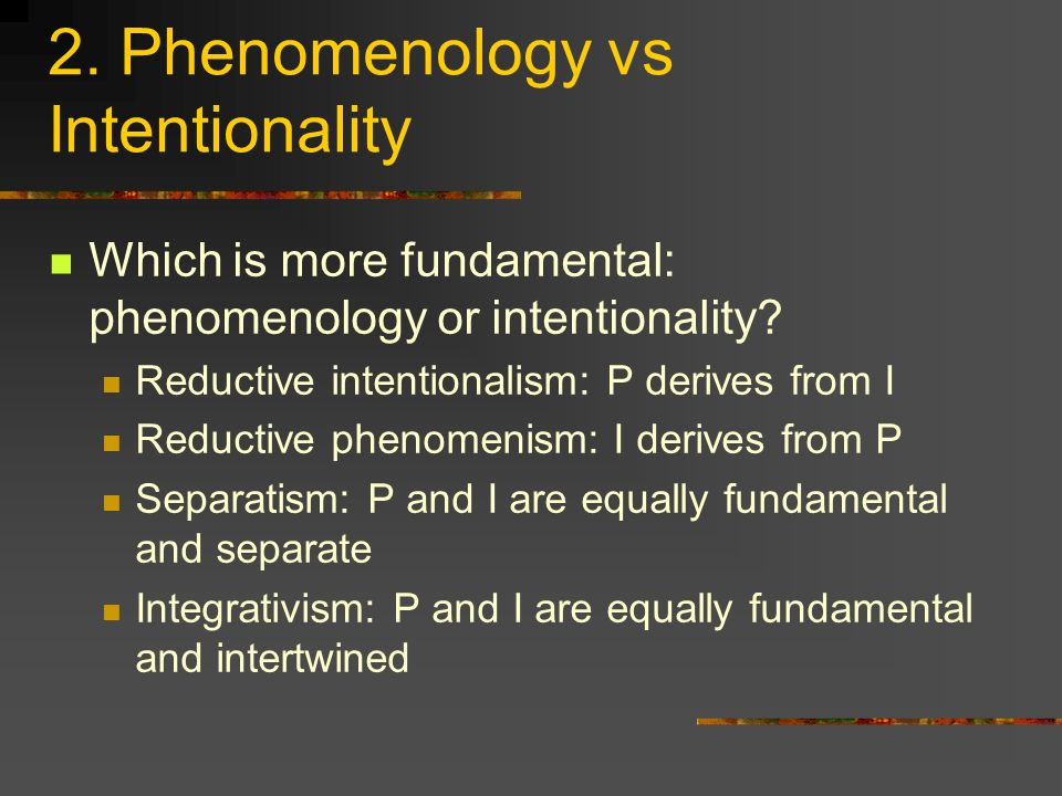 2. Phenomenology vs Intentionality