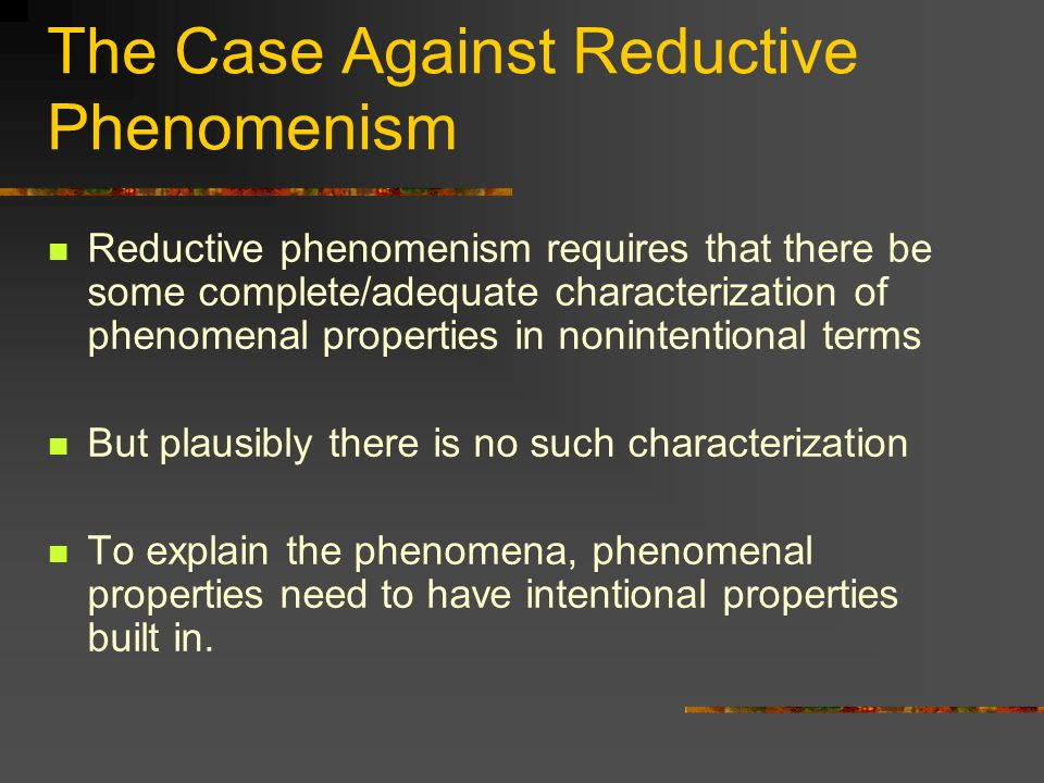 The Case Against Reductive Phenomenism