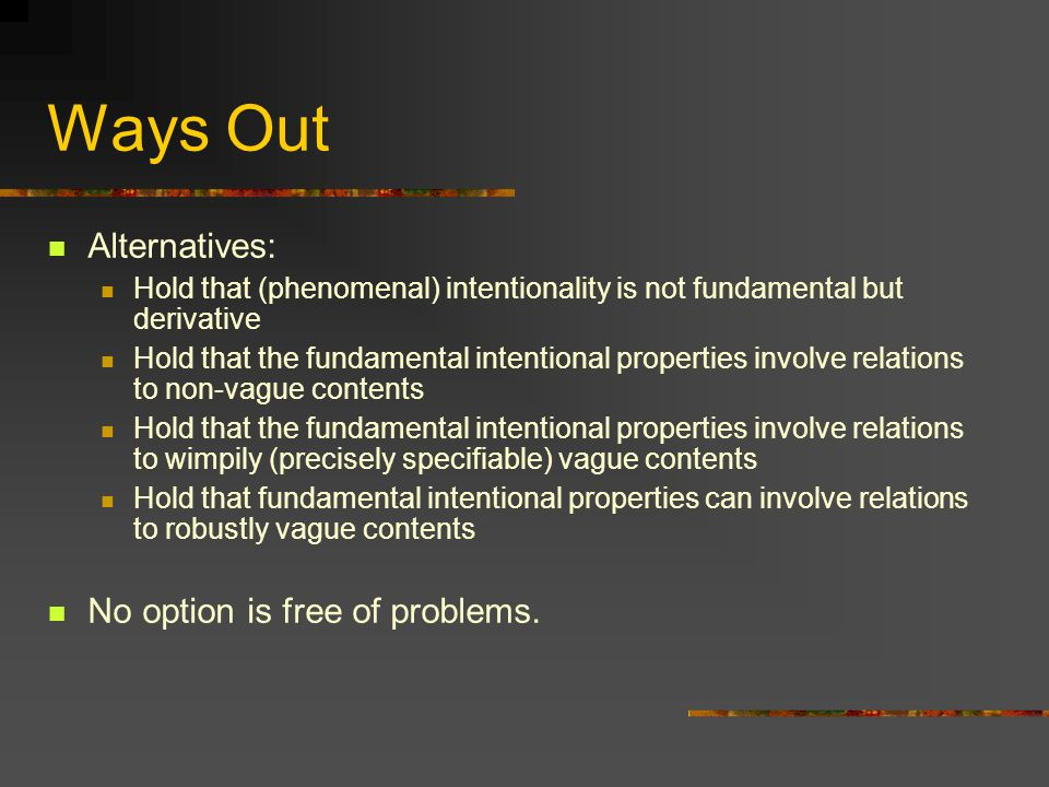 Ways Out Alternatives: No option is free of problems.