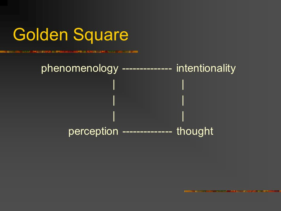 Golden Square phenomenology -------------- intentionality | |