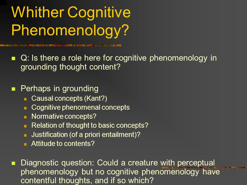 Whither Cognitive Phenomenology