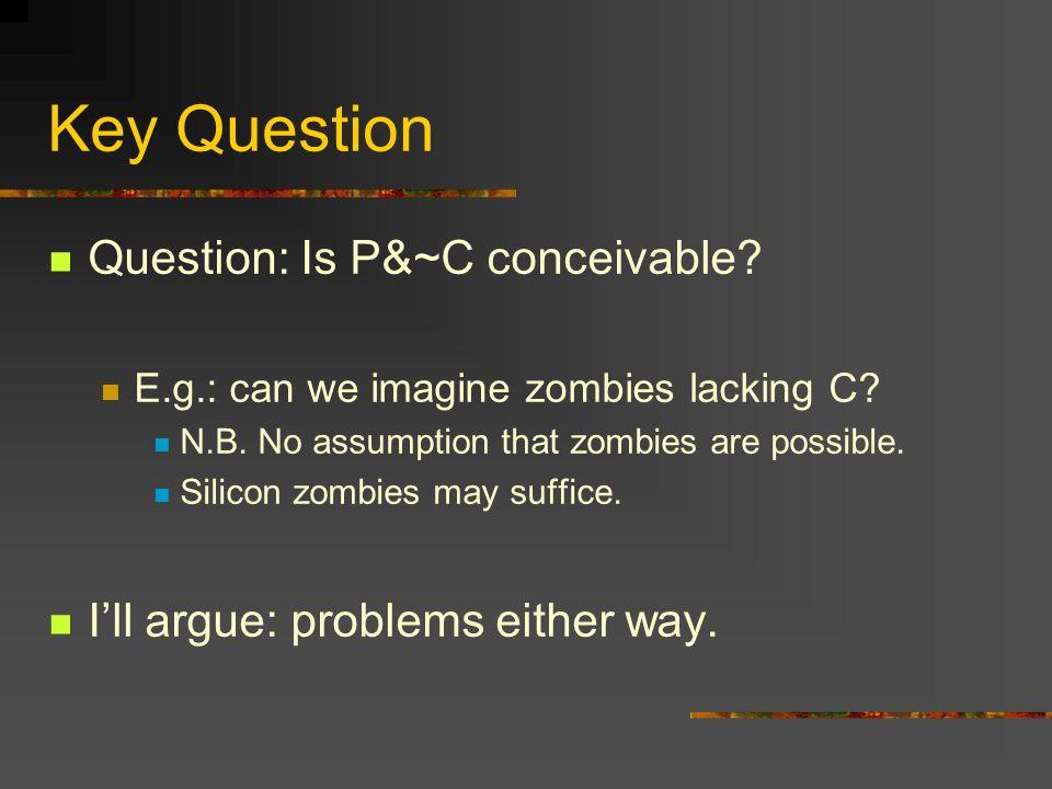 Key Question Question: Is P&~C conceivable