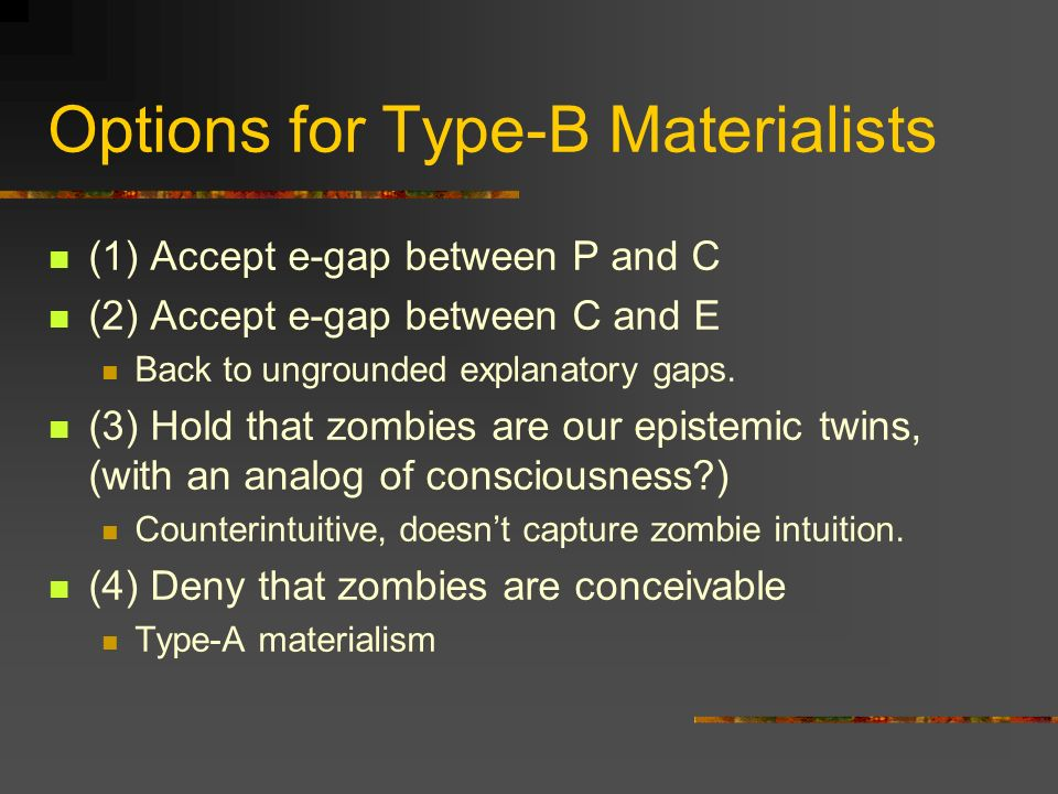 Options for Type-B Materialists