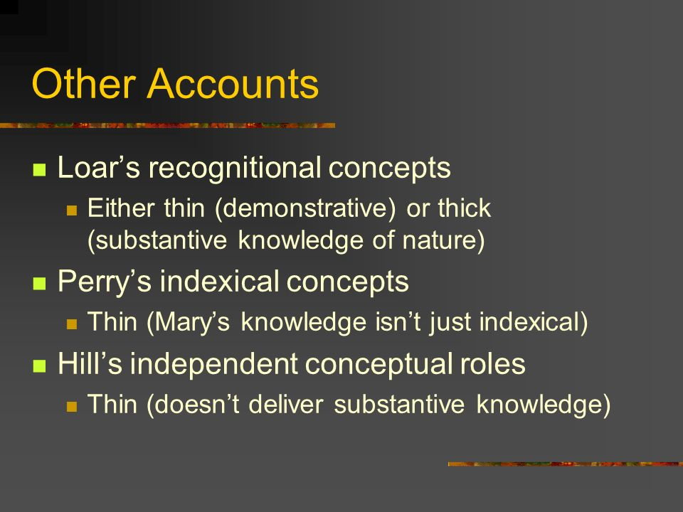Other Accounts Loar's recognitional concepts