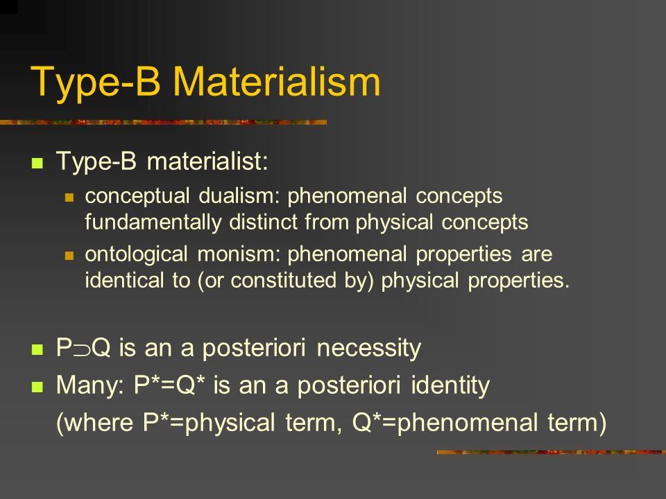Type-B Materialism Type-B materialist: