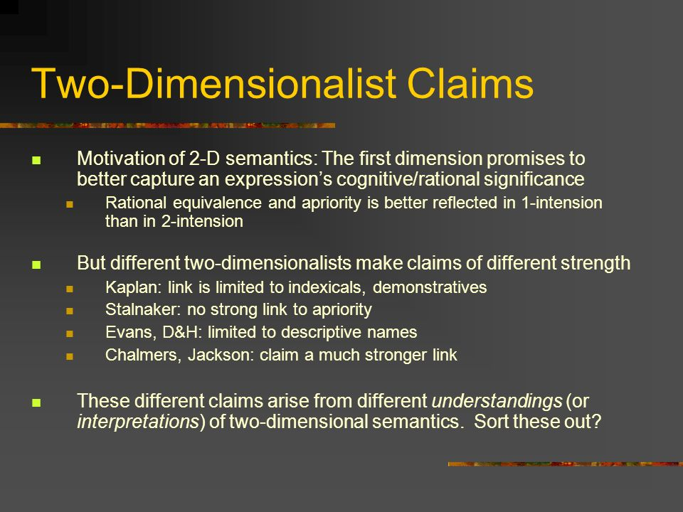Two-Dimensionalist Claims