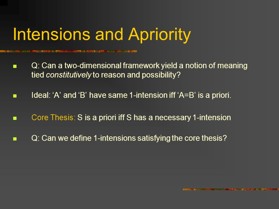 Intensions and Apriority